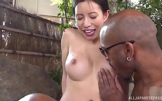 Japanese wife Kashiwagi Kurumi gets fucked by two black dicks