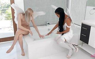 Interracial lesbian between angels  Anny Aurora and Kira Noir