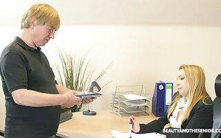 Pale blonde teen secretary Rebecca Black pounded by her older boss