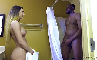 Curvy long haired babe Ella rides black dick and gets cum in mouth