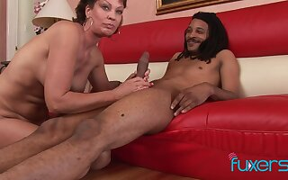 Vanessa Videl interracial cougar sucking  black boy and makes him cum