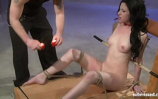 Pale black haired slut Cheri Rose spanked and abused with hot wax