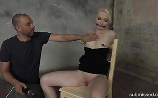 Tied  Lovita Fate gets her pussy pleased with a black vibrator