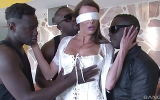 two black and horny dudes are going to destroy Caroline Tosca's cunt