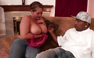 Chubby female works her first BBC up the tight pussy