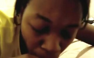 Black girl sucks her white bf pov and swallows his cum on the bed