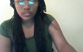 Sweet Ebony Girl With Glasses Loves Being Watched While Ple