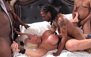 Stalwart curvaceous MILF Alura Jenson loves gangbang sex coupled with chunky black cocks