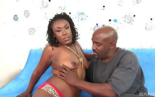 After blowing ebony Lady Rayne decides to fuck with a horny stranger