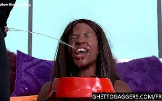 Dumb ebony trolled and throat ruined